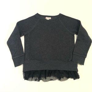 Crewcuts Sweatshirt with lace star trim gray black